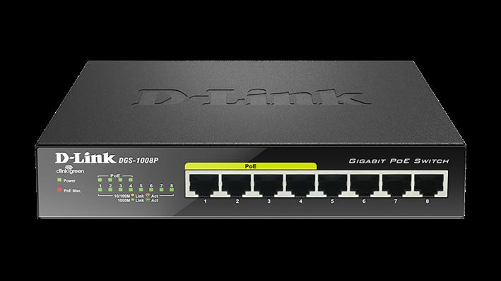 DGS-1008P/E D-Link gigabitni PoE switch 8x10/100/1000